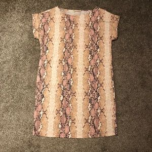 Pink and Tan Snakeskin print boutique dress